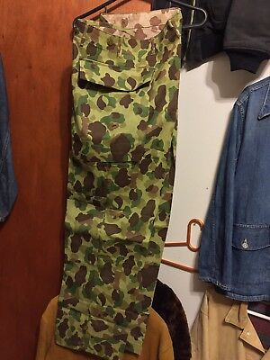WW11 USARMY NOS HBT CAMO PANTS!TOTAL ORIG.DEADSTOCK UNWASHED!AMAZING COLOR!34x31