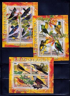 3 x Birds of Africa Sunbirds, Pigeons, Babblers MNH Complete Minisheets of 4 qq