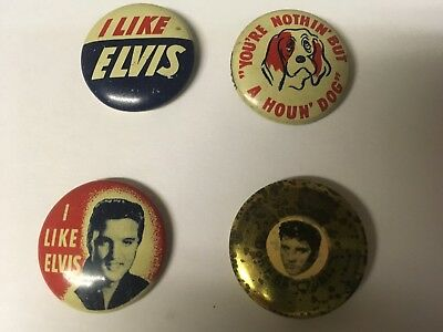 Lot of 4 1956 EPE Vintage Elvis Presley Pin Back Buttons. Green Duck Company.