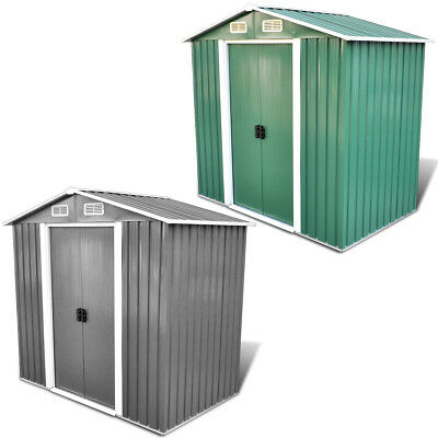 vidaXL Garden Shed Tent Storage House with Foundation 2.7 m³ Grey/Green Metal