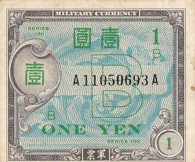 1945 Japan 1 Yen Allied Military Currency Note, Pick 67a