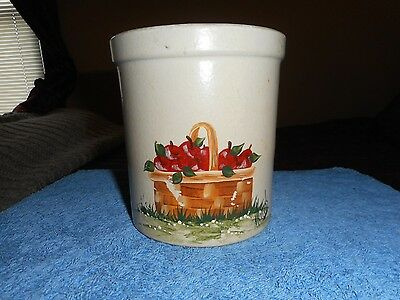 RRPC STONEWARE CROCK Hand Painted ROSEVILLE APPLE BASKET Artist SIGNED Folk