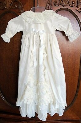 Harringtons Silk & Lace Christening Gown & Bonnet - Size 3 to 6 Months, NWT