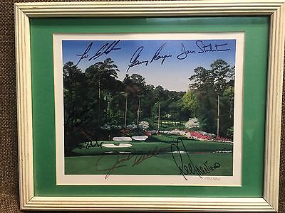 "Lee Trevino, Gary Player & 5 more Pro Golfers Signed LE Litho ""12th at Augusta"""