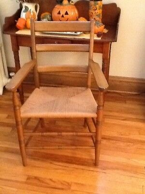 Vintage, Wood, Rush Seat Accent Chair