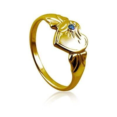 Childrens & Ladies Traditional 9ct Gold Heart Shaped Signet Ring with Stone