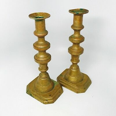 Antique Victorian  - Pair Of Heavy Brass Candlestick Holders Patina Square Base