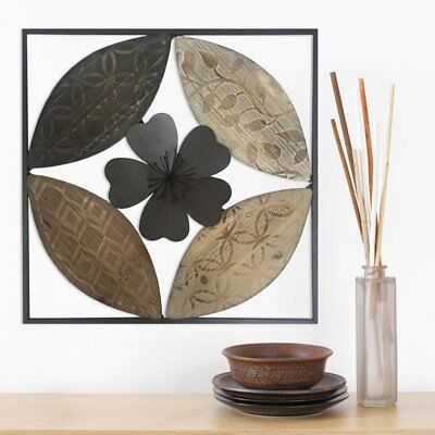 Large Modern Contemporary Style Square Wood Metal Wall Panel Plaque Home Decor