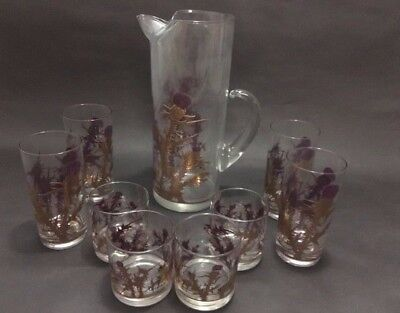 Gregory Duncan 22kt Gold Embossed Tall Pitcher w 4 Highball and 4 Small Glasses