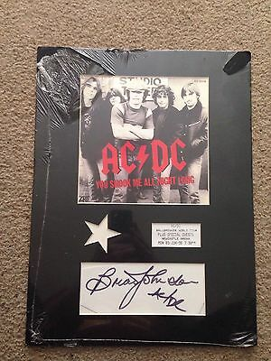 Ac/Dc Brian Johnson Framed Photo and Autograph