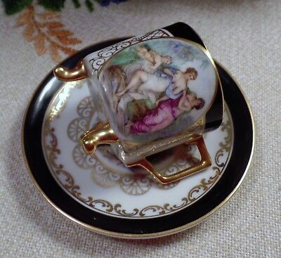 MITTERTEICH Bavarian China Footed Cup/Saucer Victorian Couple Gold Trim