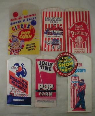 Lot Of Peanut & Popcorn Bags And Decal Vintage Ringling Brothers Circus
