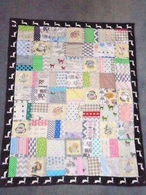 Gumnut Baby & Rabbits - Scrap Cot Quilt W/ Low Volume- Handmade - Cotton Fabric