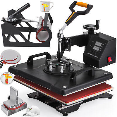 """5in1 Heat Press Machine For T-Shirts 12""""x15"""" Combo Kit Sublimation Swing away"""