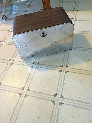 Vintage Pantry Queen Wood Grain And Chrome 2 Shelf Bread Box with Cutting Board