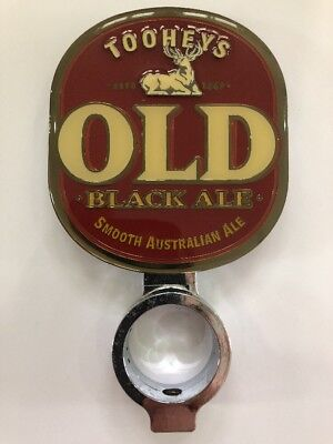 Tooheys OLD Black Ale Metal Beer Tap Badge With Holder + BONUS Decal Sticker