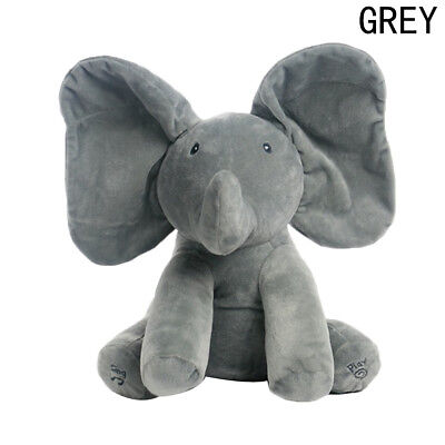 Peek-a-Boo Animated Talking and Singing Elephant Baby Educational Toys Gray zone
