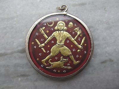 Vintage Hindu God Bhairav Bheruji Embossed Painting Silver Pendent Necklace #37
