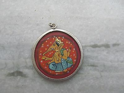 Vintage Indian Hindu God Ganesh Painting Silver Amulet Pendent Necklace Jewelry