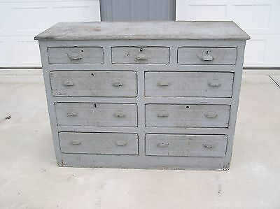 Primitive Antique Large 9 Drawer Cabinet RAILROAD Hand Made USA Great Patina