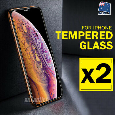 2 X iPhone XS Max XR 8 7 Plus Tempered Glass Screen Protector Apple 6 6S Plus