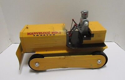 Vintage Saunders Marvelous Mike Battery Operated Bulldozer W/robot Driver