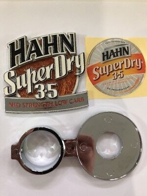 BRAND NEW Hahn Super Dry 3.5 metal beer tap badge + Decal + Holder - Collectable