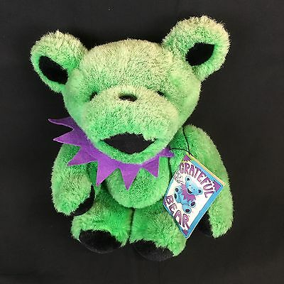 """8"""" Green Jointed Grateful Dead Plush Bear With Tags 1990 Liquid Blue"""