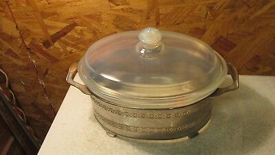 Antique Pyrex Fry Glass Opalescent Oval Baking Dish & Metal Holder