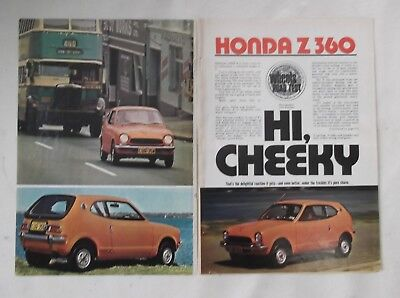 Honda Z360 Original Road Test Article Removed from a Magazine Honda Z