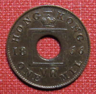 1866 Hong Kong One Mil - Tiny Bronze Coin, Early British Colonial Issue!