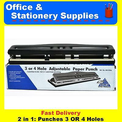 Colby 3 or 4 Hole Adjustable Paper Punch  Black Hole Punch   KW999A