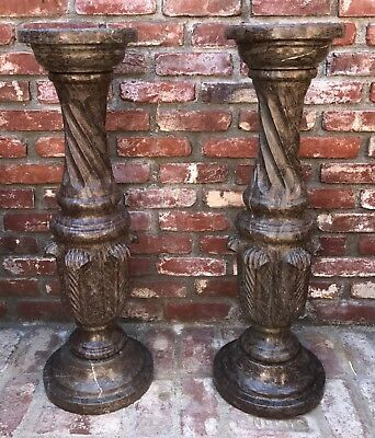 Pair of Hand Carved Red Gray Marble Column Pedestals Sculpture Plant Holder