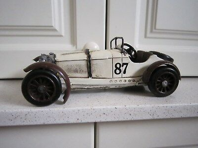 Large Vintage Style WHITE BENZ Classic Collection RACING CAR