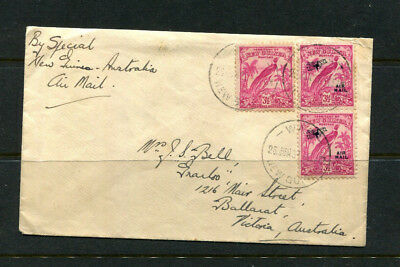 New Guinea 1937 Stamp Cover Bird Of Paradise With Optds + Rarer 3.5D No Dates