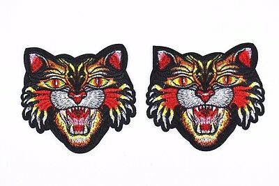 Tiger Patch (2 pcs) Animal Embroidered Men T-shirt Craft Iron On Patch Applique