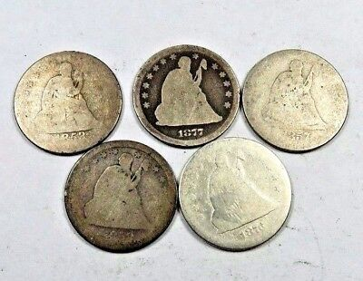 1853-O+1857+1858+1876-S+1877 Seated Liberty Quarter Lot // 5 Coins // (QL20)