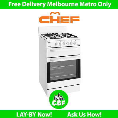 Chef CFG503WA 54cm Upright Freestanding GAS Cooker Stove Oven 80L Separate Grill