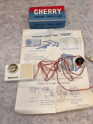 Vintage Cherry Germanium Compass Radio Crystal Radio Original Box GM-100