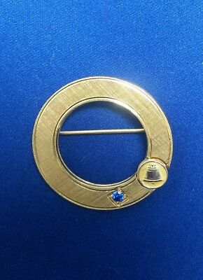 VINTAGE BELL TELEPHONE SERVICE PIN W/ SAPPHIRE ROUND BROOCH Gold Plate or Filled