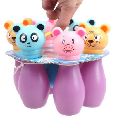 Kids Child Plastic Bowling Pins Ball Skittle Game Cute Animal Shape Toys Gifts