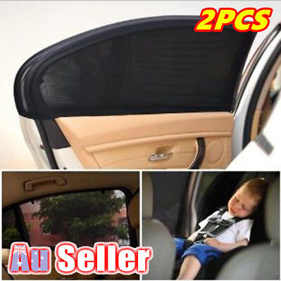 Car Window Rear Side Socks Sun Shade Black Mesh SUV UV Protection Large pair