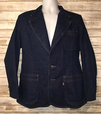 LEVIS DENIM JACKET BLAZER BLUE SPORT COAT ORANGE TAB VTG 70s SIZE 42 VINTAGE