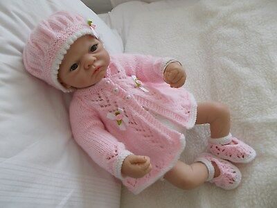 BEAUTIFUL HAND KNITTED  CLOTHES KNITTED SET  OUTFIT 20 / 22in  REBORN BABY DOLL