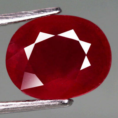 3.78Ct.excellent! Oval Facet Top Blood Red Natural Ruby Madagascar