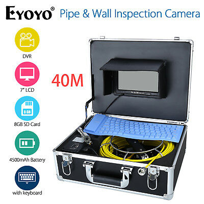 """40M 7"""" LCD Screen Sewer Drain Pipe Wall Inspection Endoscope Camera w/Keyboard"""