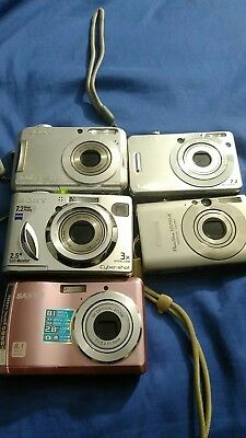 Lot 5 digital camera Canon sd770is sanyo vpc-880 sony cyber-shot dsc-w55 s700 7
