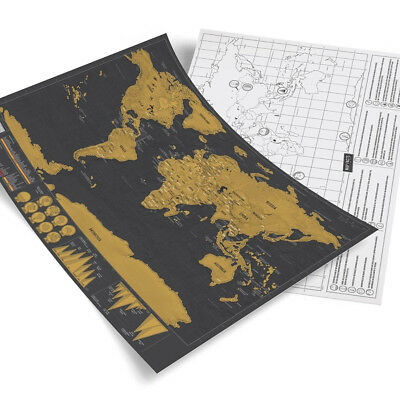 Black Big Deluxe Travel Edition Scrape World Map Personalized Poster Journal Log