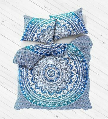 Blue Ombre Indian Doona Duvet Quilt Cover Tapestry Cotton Queen Size Bedding Set