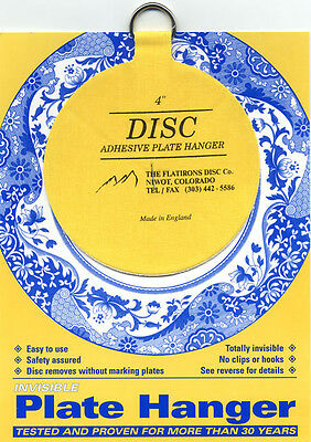 """Original Invisible Disc Adhesive Plate Hanger 4"""" for Plates up to 5.5 Pounds."""